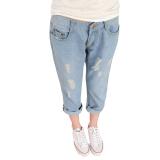 Beli Women S Light Dicuci Harem Loose Lubang Ripped Jeans Biru Intl Online