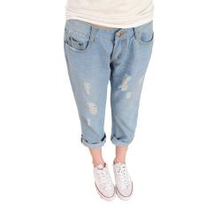 Review Women S Light Dicuci Harem Loose Lubang Ripped Jeans Biru Intl Terbaru