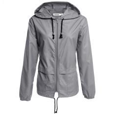 Beli Wanita Ringan Tahan Air Outdoor Hoodie Raincoat Grey Intl Online Murah