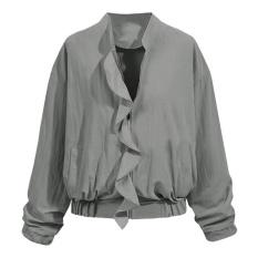 Wanita Lengan Panjang Retro Zipper Bomber Ruffle Jaket Rak GY/L-Intl
