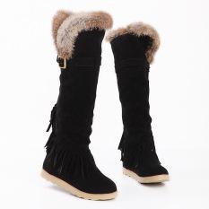 Harga Wanita Flat Sepatu Bot Salju Panjang Lutut Sepatu Bot Hitam Fullset Murah