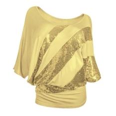 Jual Wanita Loose Half Batwing Lengan Blus Dengan Mengatasi Detail Emas Antik