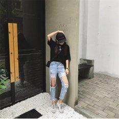 Women's Loose Plus Large Size Ripped Jeans Lady's Boyfriend Jeans for Women Female Casual Hole Denim Pants Pencil - intl