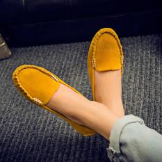 Beli Wanita Sepatu Sandal Kulit Flat Memakai Sepatu Loafers Wanita Kasual Penari Balet Sepatu Balet Kuning Internasional Terbaru