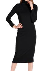 Beli Yg Berhubung Dgn Mungil Lengan Baju Panjang Wanita Berleher Tinggi Gaun Maxi Hitam M Di Tiongkok