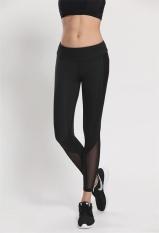 Baru Wanita Ladies Olahraga Celana Mesh Jahitan Cepat Kering Kebugaran Menjalankan Kebugaran Celana Panjang Yoga Trousers-Hitam-Intl