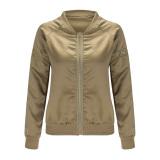 Spesifikasi Perempuan Pembom Empuk Jaket Vintage Ritsleting Jaket Pengendara Bermotor Tentara Hijau L Vakind
