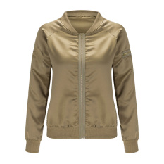 Cuci Gudang Perempuan Pembom Empuk Jaket Vintage Ritsleting Jaket Pengendara Bermotor Tentara Hijau L