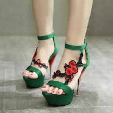 Harga Hemat Wanita S Platform Sandal Elegan Partai Tinggi Tumit Hijau Intl