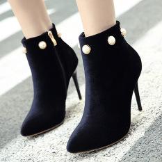 Wanita Menunjuk Toe Stiletto Ankle Boots London Partai Sepatu Hak Tinggi dengan Berlian Imitasi Hitam-
