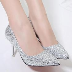 Beli Women S Pointed Toe Stiletto Bridal Pumps Princess Party High Heels With Sequined Silver Intl Online Murah