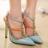 Harga Wanita Menunjuk Toe Stiletto Sepatu Selempang Jepang Pompa Dengan Paku Keling Biru Intl Small Wow Online