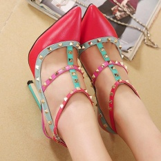 Diskon Wanita Menunjuk Toe Stiletto Sepatu Selempang Jepang Pompa With Paku Keling Pink