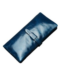 Jual Women S Rfid Blocking Leather Long Trifold Clutch Dompet Biru Internasional Baru