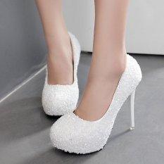 Diskon Wanita Round Toe Platform Bridal High Heels Putri Sepatu Pesta Dengan Crystal White Intl Branded