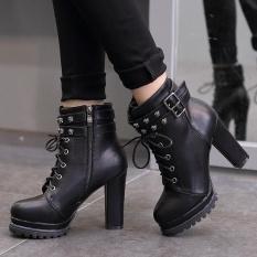 Toko Wanita Round Toe Platform High Heels London Ankle Boots Dengan Buckle Black Terlengkap