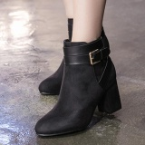 Harga Women S Round Toe Square Heel Ankle Boots Korean Casual High Heels With Buckle Black Intl Origin