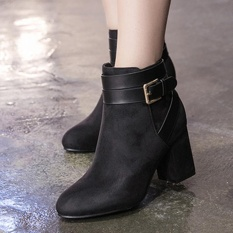 Toko Women S Round Toe Square Heel Ankle Boots Korean Casual High Heels With Buckle Black Intl Lengkap