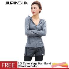 Wanita Jaket Lari Kaus Yoga Lengan Panjang Gym Pengetat Fitness Tops Cepat Kering Bernapas Baju Luar untuk Olahraga-Intl