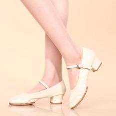 Wanita Salsa Waltz Ballroom Latin Tango Soft Sole Sepatu Dansa Bertumit Sandal Putih