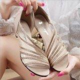 Beli Wanita Sandal Rendah Tumit Wanita Bling Musim Panas Bulat Peep Toe Berongga Kasual Sepatu D163 Emas Intl Oem Online