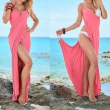 Harga Womens S*xy Deep V Neck Maxi Backless Beach Dress B*k*n* Wrap Long Maxi Dress S*xy Dress Pink Satu Set