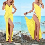 Jual Womens S*xy Deep V Neck Maxi Backless Beach Dress B*k*n* Wrap Long Maxi Dress S*xy Gaun Kuning Unbranded Grosir