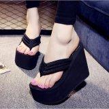 Spesifikasi Wanita High Heels Seksi Sandal Jepit Sandal Wedge Platform Antiskid Pantai Sepatu Baru Intl Baru
