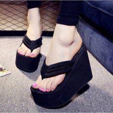 Harga Wanita High Heels Seksi Sandal Jepit Sandal Wedge Platform Antiskid Pantai Sepatu Baru Intl Termurah