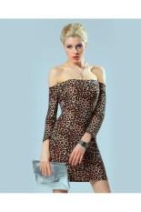 Jual Beli Wanita S*Xy Leopard Dari Bahu Panjang Lengan Slim Mini Dress Tiongkok