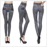 Cuci Gudang Womens Skinny Fake Jeans Seamless Yoga Pants Cowboy Slim Plus Size Leggings Fashion Jeggings High Waist Denim Pants With Back Pocket Leggins Intl