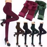 Toko Jual Wanita Solid Musim Dingin Tebal Hangat Fleece Dilapisi Celana Peregangan Termal Hitam Intl