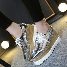 Beli Wanita S Square Toe Wedge Loafers Korean Casual Sepatu Perak Intl Intl Terbaru