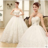 Jual Beli Online Wanita Strapless Tulle Pernikahan Gaun Ball Gown Bridal Pernikahan Gaun Intl