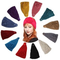 Women's Stretchy Flower Headband Wool Crochet Yoga Turban Headwrap for Sports & Daily Use (Lake Blue) - intl