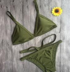 Wanita Musim Panas Setelan Bikini Gaya Seksi Swimming Set Fashion Berselancar Di Setelan 2 Pcs-Hijau-Intl