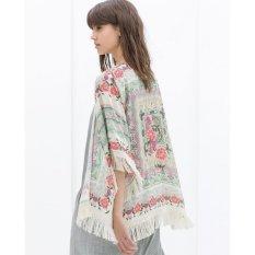 Womens Musim Panas Blus Sexy Floral Shirt Longgar Kimono Cardigan Atasan Kasual-Internasional