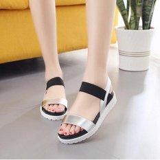 Wanita Summer Mix Warna Kasual Jari Kaki Terlihat Blok Rendah Heels Sandal Sepatu Kulit D182 Warna Silver-Intl