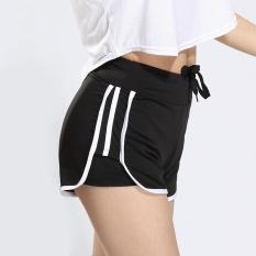 Wanita Summer New Stripe Yoga Shorts Cepat-kering Peregangan Skinny Sports Shorts Outdoor Jogging Fitness Sports Pants -hitam-Intl