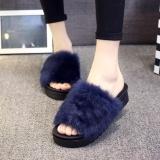 Pusat Jual Beli Womens Tebal Slider Bawah Fluffy Faux Fur Flat Slipper Flip Flop Sandal Intl Tiongkok