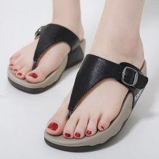 Beli Wanita Toe Clip Flat Sepatu Kasual Eropa Sandal Hitam Online Murah