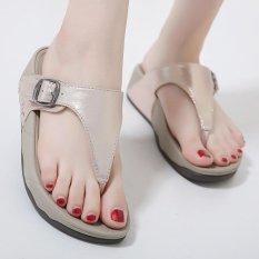 Beli Wanita Toe Clip Flat Sepatu Kasual Eropa Sandal Emas Baru