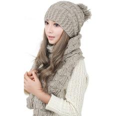 Harga Perempuan Hangat Wol Merajut Syal Selendang Kerudung Topi Sesuai Dengan Yang Ditetapkan Krem Lengkap
