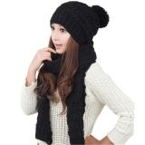 Beli Perempuan Hangat Wol Merajut Syal Selendang Kerudung Topi Sesuai By The Same Ditetapkan Hitam Tiongkok