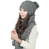 Harga Termurah Perempuan Hangat Wol Merajut Syal Selendang Kerudung Topi Sesuai By The Same Ditetapkan Kelabu