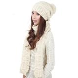 Harga Perempuan Hangat Wol Merajut Syal Selendang Kerudung Topi Setelan Set Topi Putih Baru Murah