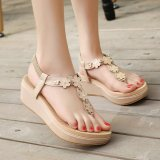 Beli Womens Wedge Pu Korea Sandal Dengan Bunga Aprikot Intl Not Specified Murah