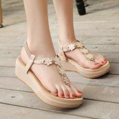 Womens Wedge Pu Korea Sandal Dengan Bunga Aprikot Intl Asli