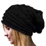 Model Musim Dingin Wanita Beanie Merajut Topi Ski Very Large Cap Hat Hangat Hitam Terbaru