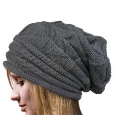 Beli Musim Dingin Wanita Beanie Merajut Topi Ski Very Large Cap Hat Hangat Abu Abu Dark